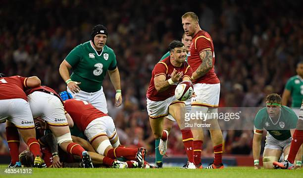 Wales player Mike Phillips in action during the Rugby World Cup warm up match between Wales and Ireland at Millennium Stadium on August 8 2015 in...