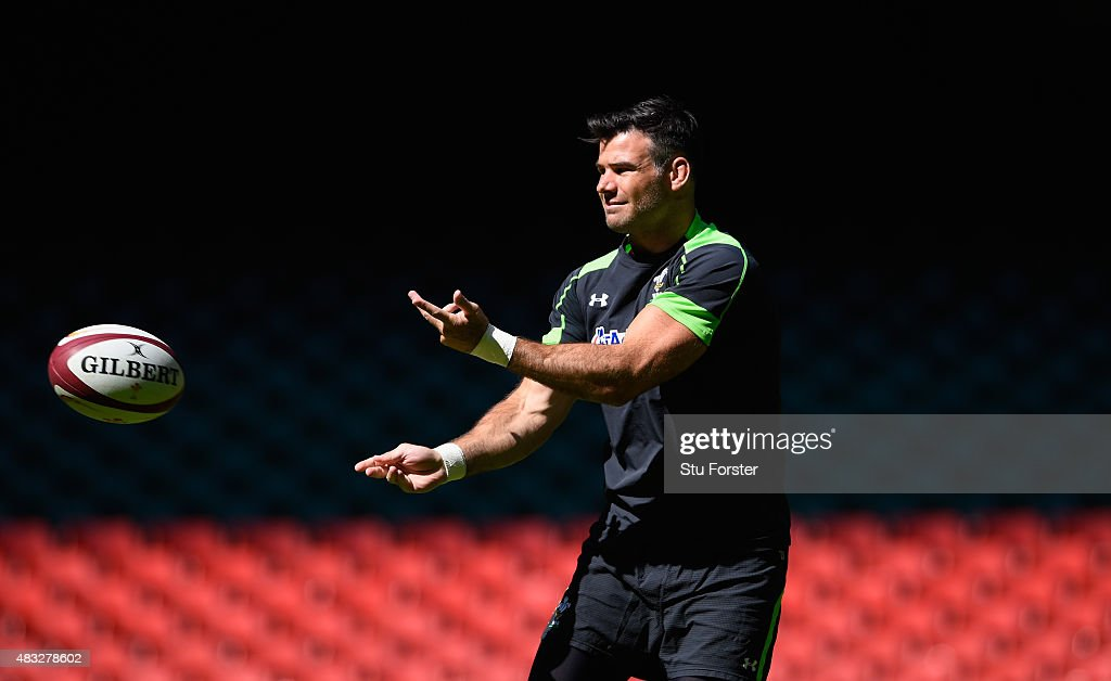 Wales player <a gi-track='captionPersonalityLinkClicked' href=/galleries/search?phrase=Mike+Phillips+-+Rugby+Player&family=editorial&specificpeople=4527917 ng-click='$event.stopPropagation()'>Mike Phillips</a> in action during Wales training ahead of saturday's World Cup warm up match against Ireland at Millenium Stadium on August 7, 2015 in Cardiff, Wales.