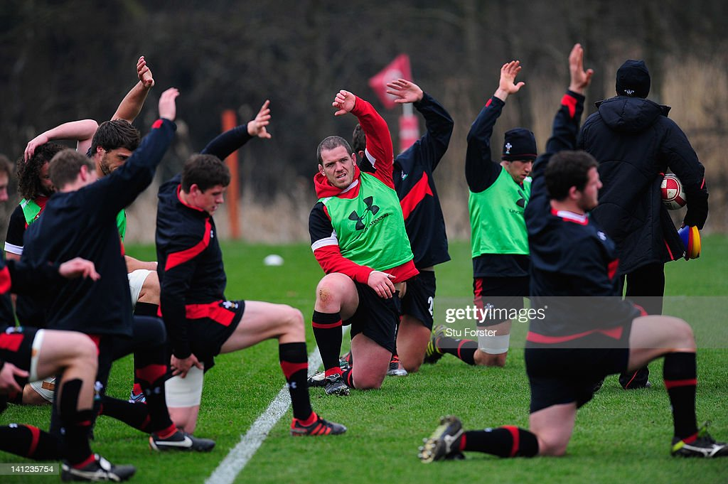 Wales player Paul James (c) warms up with team mates during Wales training at the Vale hotel ahead of this saturdays final RBS Six Nations game against France on March 13, 2012 in Cardiff, Wales.