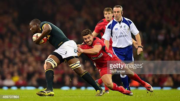 Wales player Rhys Webb puts in a tackle on Teboho Mohoje of South Africa during the Autumn international match between Wales and South Africa at...