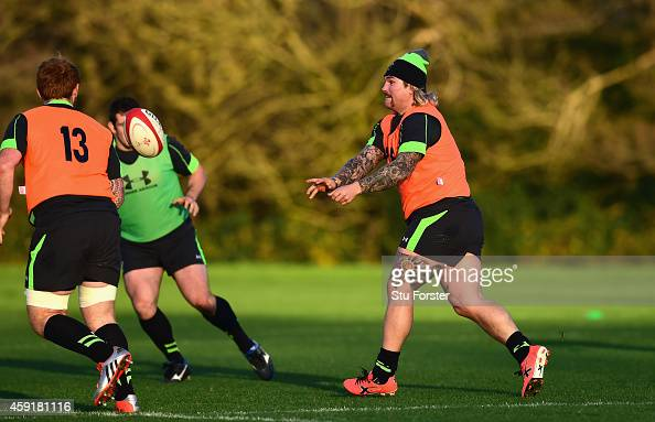 Wales player Richard Hibbard in action during training at the Vale Hotel on November 18 2014 in Cardiff Wales