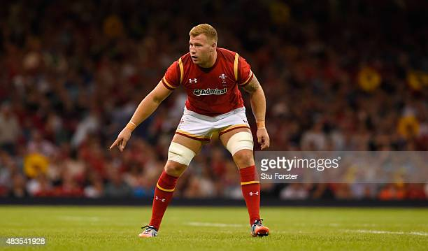 Wales player Ross Moriarty in action during the Rugby World Cup warm up match between Wales and Ireland at Millennium Stadium on August 8 2015 in...