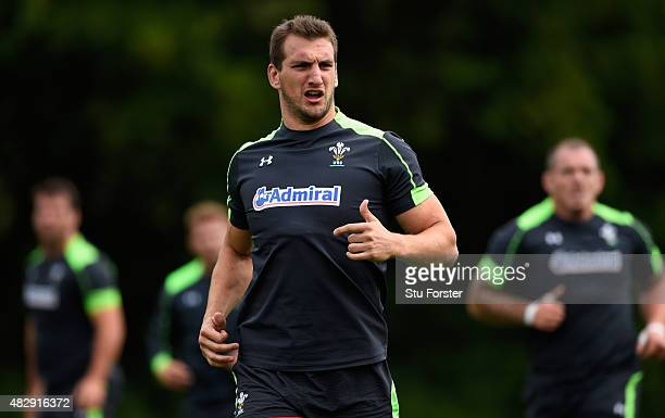 Wales player Sam Warburton in action during Wales training ahead of saturdays World cup warm up match against Ireland at the Vale Hotel on August 4...