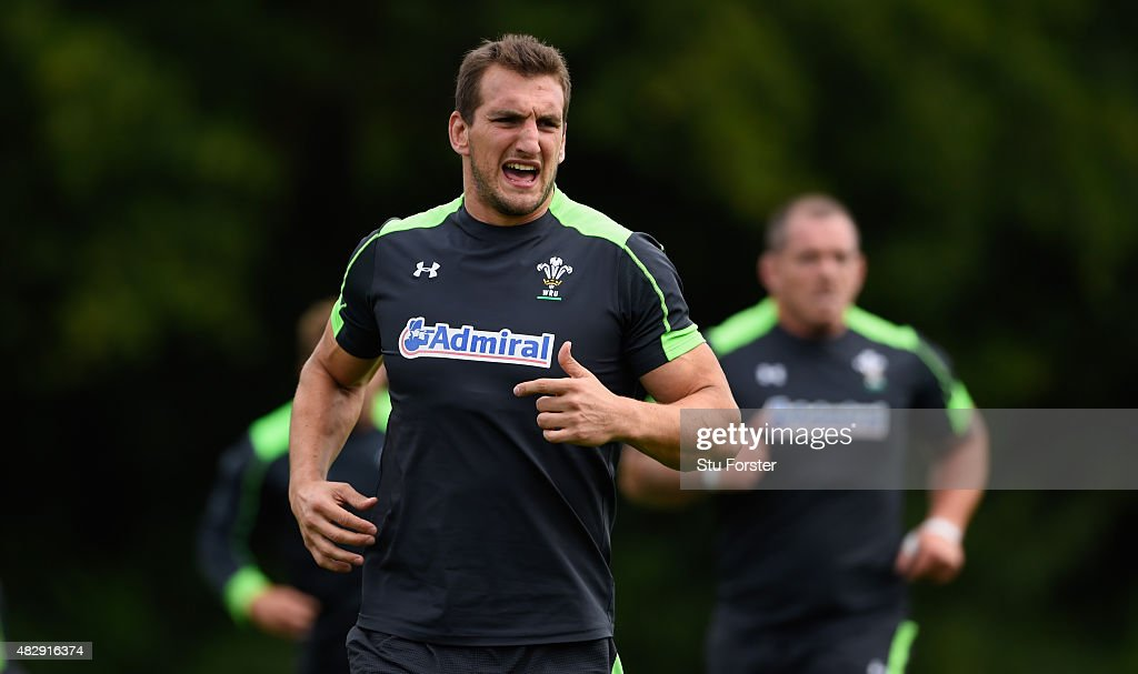 Wales player <a gi-track='captionPersonalityLinkClicked' href=/galleries/search?phrase=Sam+Warburton+-+Rugby+Player&family=editorial&specificpeople=4234449 ng-click='$event.stopPropagation()'>Sam Warburton</a> in action during Wales training ahead of saturdays World cup warm up match against Ireland at the Vale Hotel on August 4, 2015 in Cardiff, Wales.