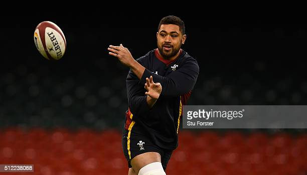 Wales player Taulupe Faletau in action during the Wales captain's run ahead of their RBS Six Nations match against France at Principality Stadium on...