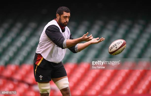 Wales player Taulupe Faletau in action during Wales Captains runs ahead of their RBS Six Nations match against England at Principality Stadium on...