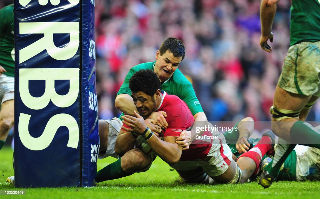 Wales player <a gi-track='captionPersonalityLinkClicked' href=/galleries/search?phrase=Toby+Faletau&family=editorial&specificpeople=6522513 ng-click='$event.stopPropagation()'>Toby Faletau</a> is stopped by Jonny Sexton just short of the try line during the RBS Six Nations game between Wales and Ireland at the Millennium Stadium in Cardiff, Wales.