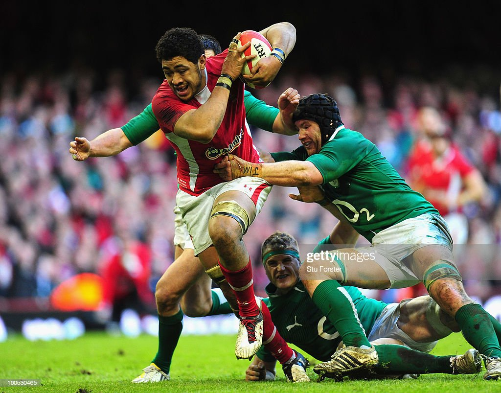 Wales player Toby Faletau is stopped by the Ireland defence just short of the try line during the RBS Six Nations game between Wales and Ireland at the Millennium Stadium in Cardiff, Wales.