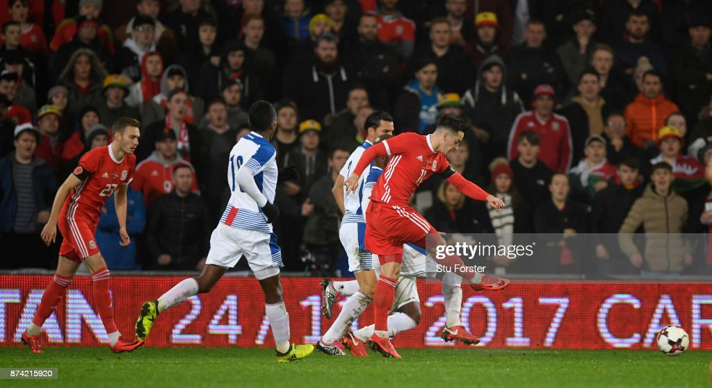 Wales player Tom Lawrence fires in the first Wales goal during the International Friendly match between Wales and Panama at Cardiff City Stadium on November 14, 2017 in Cardiff, Wales.