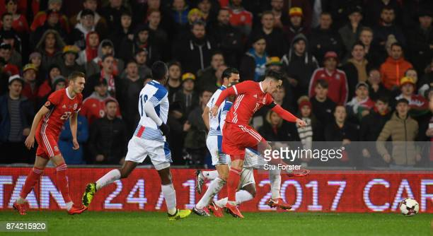 Wales player Tom Lawrence fires in the first Wales goal during the International Friendly match between Wales and Panama at Cardiff City Stadium on...