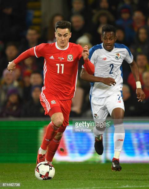 Wales player Tom Lawrence in action during the International Friendly match between Wales and Panama at Cardiff City Stadium on November 14 2017 in...