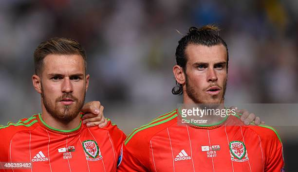 Wales players Aaron Ramsey and Gareth Bale look on before the UEFA EURO 2016 Qualifier between Cyprus and Wales at GPS Stadium on September 3 2015 in...