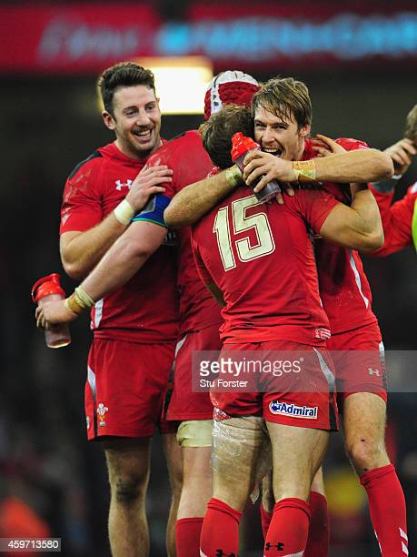 Wales players Alex Cuthbert Leigh Halfpenny and Liam Williams celebrate after the Autumn international match between Wales and South Africa at...