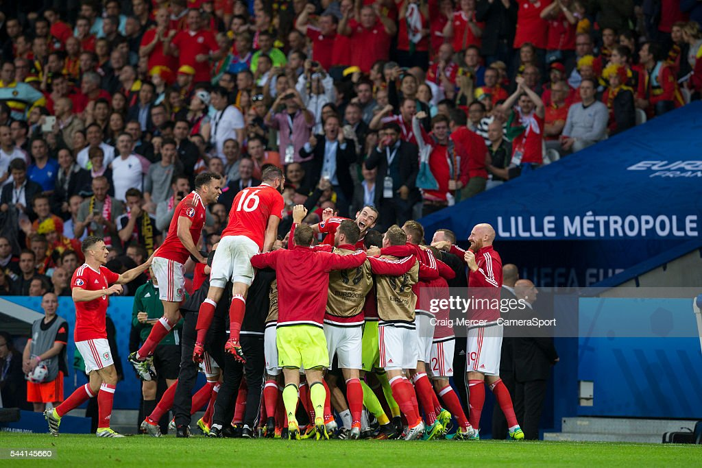 Wales players celebrate their sides equalising goal to make the score 1-1 during the UEFA Euro 2016 Quarter-final match between Wales and Belgium at Stade Pierre Mauroy on July 01 in Marseille, France.