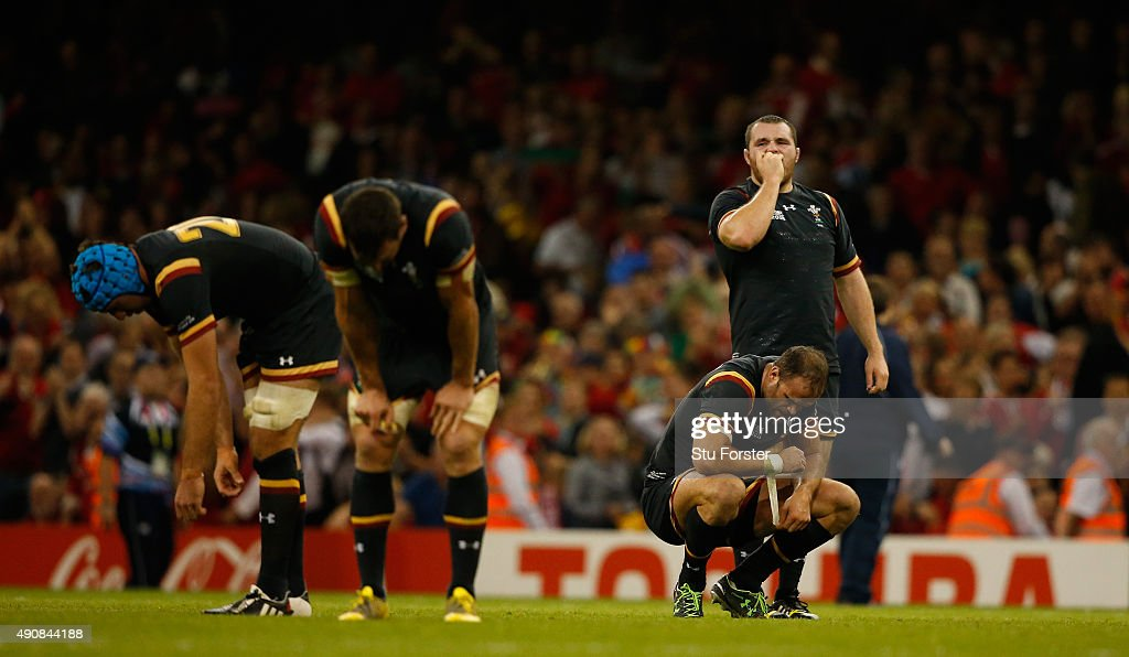 Wales players from left Justin Tipuric Sam Warburton Jamie Roberts and Ken Owens reflect on the final whistle during the 2015 Rugby World Cup Pool A...