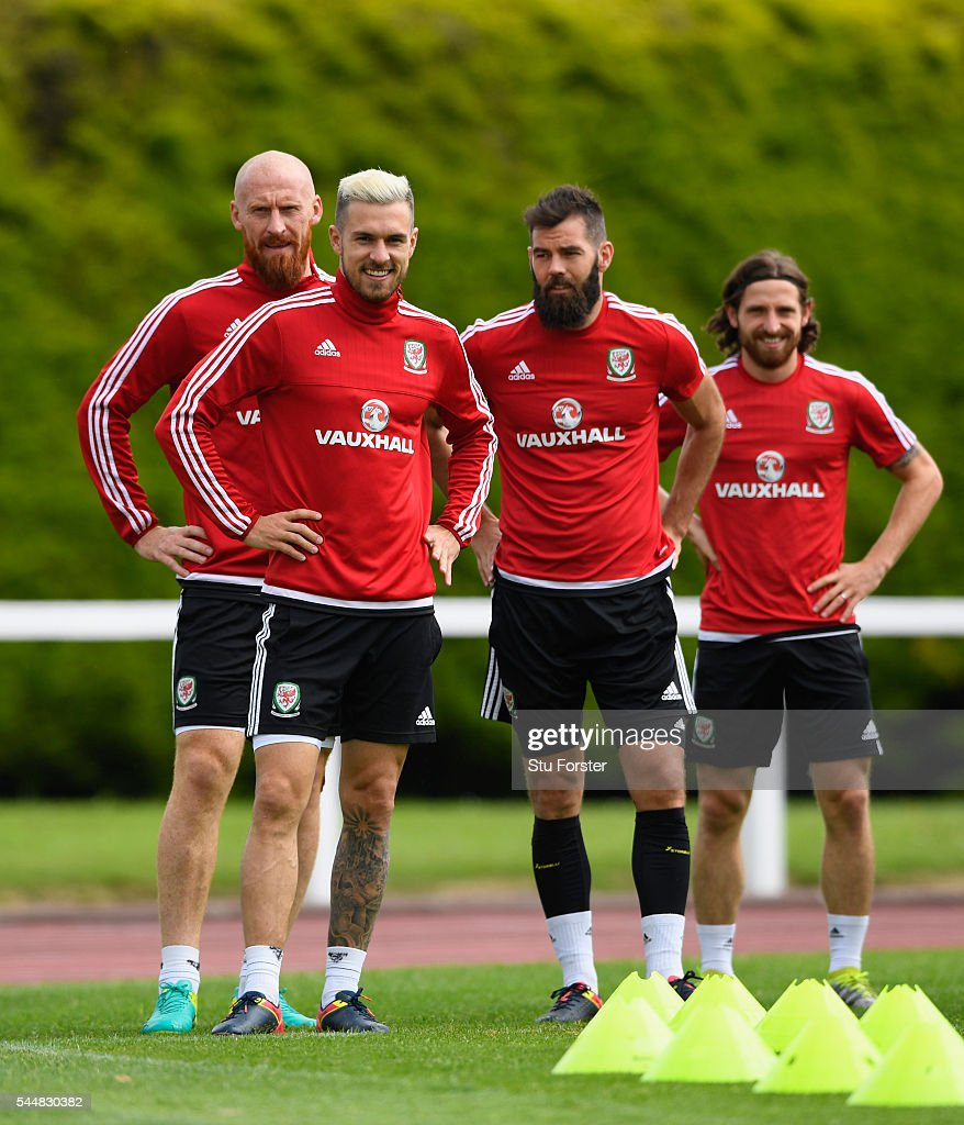 Wales players from left to right James Collins Aaron Ramsey Joe Ledleyand Joe Allen share a joke during Wales training ahead of their UEFA Euro 2016...