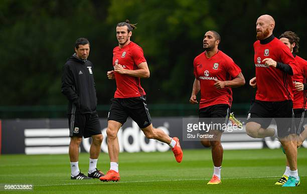 Wales players Gareth Bale Ashley Williams and James Collins in action during Wales training ahead of their FIFA World Cup qualifier against Moldova...
