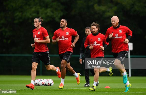 Wales players Gareth Bale Ashley Williams Joe Allen and James Collins in action during Wales training ahead of their FIFA World Cup qualifier against...