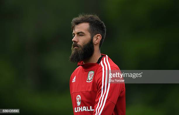 Wales players Joe Ledley looks on during Wales training at the Vale hotel complex on June 1 2016 in Cardiff Wales