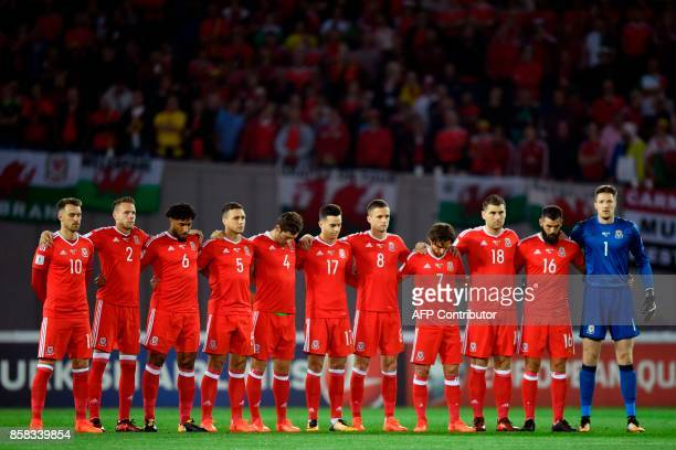Wales' players prior to the FIFA World Cup 2018 qualification football match between Georgia and Wales in Tbilisi on October 6 2017 / AFP PHOTO /...