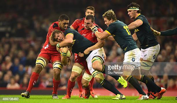 Wales players Taulupe Faletau and Sam Warburton wrap up Duane Vermeulen of South Africa during the Autumn international match between Wales and South...