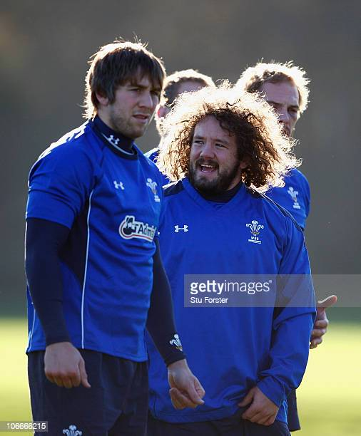 Wales prop Adam Jones and Ryan Jones look on during Wales Rugby training at Vale of Glamorgan on November 10 2010 in Cardiff Wales