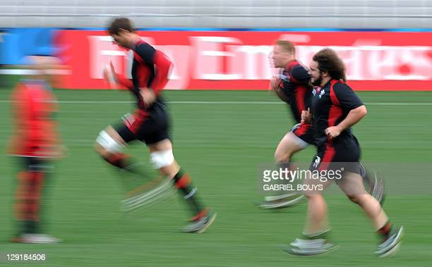 Wales' prop Adam Jones attends the Captain's run at Eden Park in Auckland on October 14 on the eve of their 2011 Rugby World Cup semifinal against...