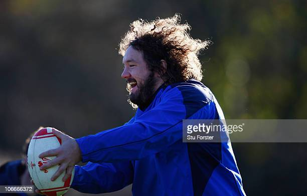 Wales prop Adam Jones in action during Wales Rugby training at Vale of Glamorgan on November 10 2010 in Cardiff Wales