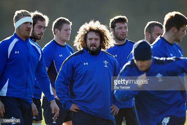 Wales prop Adam Jones looks on during Wales Rugby training at Vale of Glamorgan on November 10 2010 in Cardiff Wales