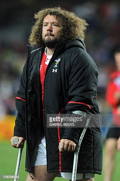 Wales' prop Adam Jones reacts after the 2011 Rugby World Cup semifinal match Wales vs France at the Eden Park in Auckland on October 15 2011 AFP...