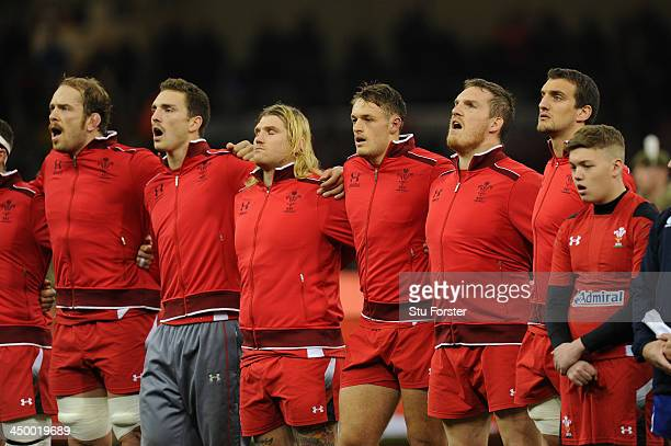 Wales prop Gethin Jenkins sings the national anthem ahead of his 100th cap before the International Match between Wales and Argentina at the...