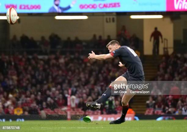 Wales' Rhys Priestland kicks a penalty during the 2017 Under Armour Series Autumn International match between Wales and Georgia at Principality...