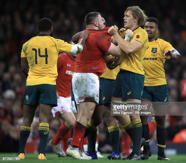 Wales' Rob Evans and Australia's Ned Hanigan clash during the Autumn International at the Principality Stadium Cardiff