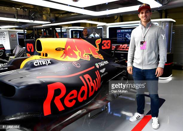 Wales rugby star George North in the Red Bull Racing garage after qualifying for the Formula One Grand Prix of Great Britain at Silverstone on July...