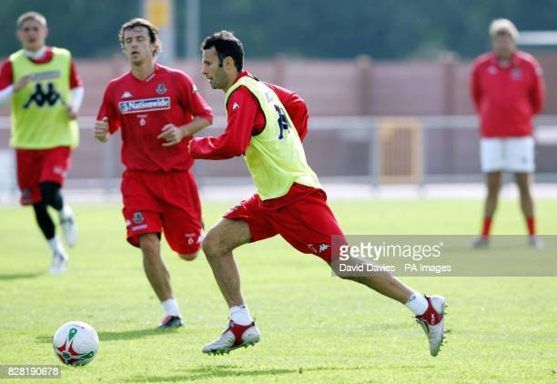 Wales' Ryan Giggs during a training session at Newport County Ground Tuesday October 4 2005 Wales are to play Northern Ireland in a World Cup...