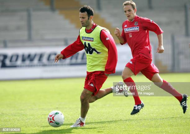 Wales' Ryan Giggs during a training session in Newport County Ground Tuesday October 4 2005 Wales are to play Northern Ireland in a World Cup...