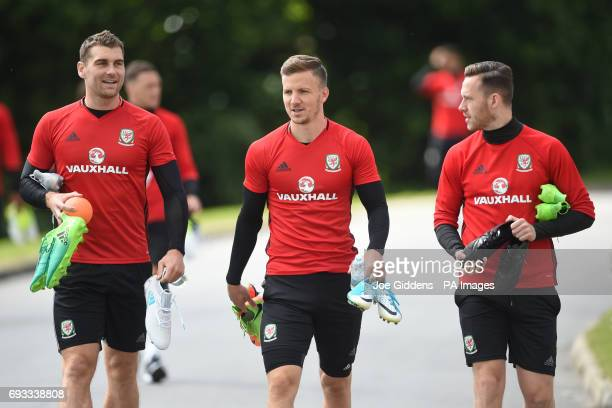 Wales' Sam Vokes Lee Evans and Gethin Jones during the training session at The Vale Resort Hensol