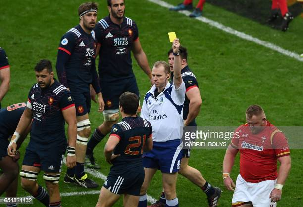 Wales' Samson Lee Rà is shown a yellow card during the Six Nations tournament Rugby Union match between France and Wales at the Stade de France in...