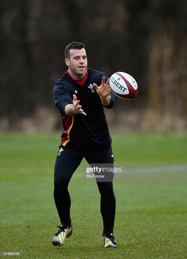 Wales scrum half Gareth Davies in action during Wwales training ahead of their RBS Six Nations match against England at The Vale Hotel on March 8...