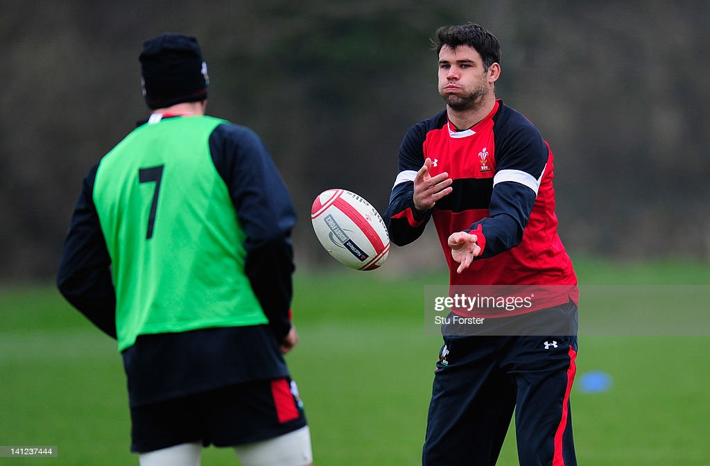 Wales scrum half Mike Phillips (r) in action during Wales training at the Vale hotel ahead of this saturdays final RBS Six Nations game against France on March 13, 2012 in Cardiff, Wales.