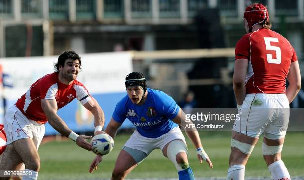 Wales' scrum half Mike Phillips passes to Wales' lock Alun Wyn Jones during the Six Nations International rugby union match between Italy and Wales...