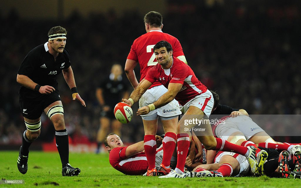 Wales scrum half Mike Phillips releases the ball during the International Match between Wales and New Zealand at Millennium Stadium on November 24, 2012 in Cardiff, Wales.