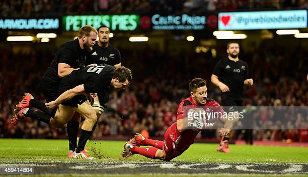 Wales scrum half Rhys Webb scores the first Wales try during the International match between Wales and New Zealand All Blacks at Millennium Stadium...