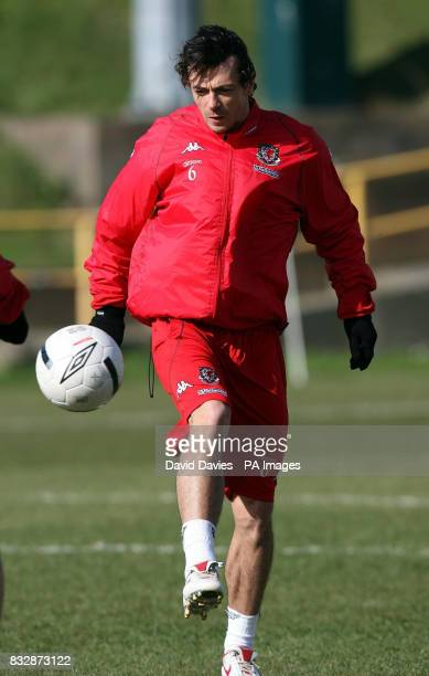 Wales Simon Davies during a training session at Jenner Park Barry