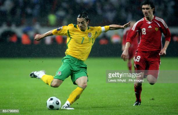 Wales' Simon Davies in action during the World Cup Qualifying match at the Lokomotiv Stadium Moscow Russia
