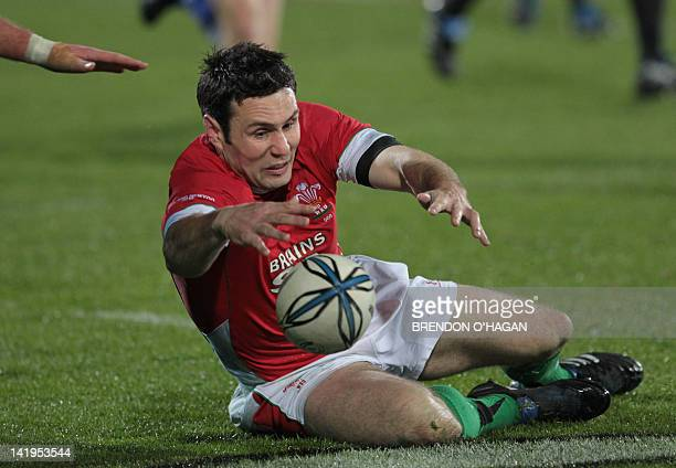 Wales Stephen Jones chases the ball in the first rugby Test between New Zealand and Wales at Carisbrook in Dunedin on June 19 2010 Dan Carter was at...