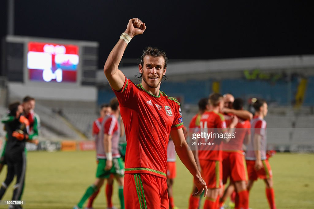 Wales striker <a gi-track='captionPersonalityLinkClicked' href=/galleries/search?phrase=Gareth+Bale&family=editorial&specificpeople=609290 ng-click='$event.stopPropagation()'>Gareth Bale</a> celebrates after the UEFA EURO 2016 Qualifier between Cyprus and Wales at GPS Stadium on September 3, 2015 in Nicosia, Cyprus.