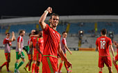 Wales striker Gareth Bale celebrates after the UEFA EURO 2016 Qualifier between Cyprus and Wales at GPS Stadium on September 3 2015 in Nicosia Cyprus