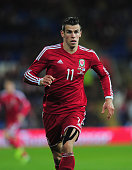Wales striker Gareth Bale in action during the International Friendly match between Wales and Finland at Cardiff City Stadium on November 16 2013 in...