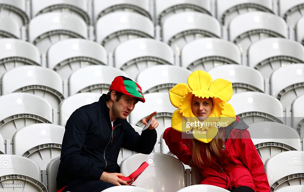 Wales supporters are seen prior to the UEFA EURO 2016 quarter final match between Wales and Belgium at Stade Pierre-Mauroy on July 1, 2016 in Lille, France.